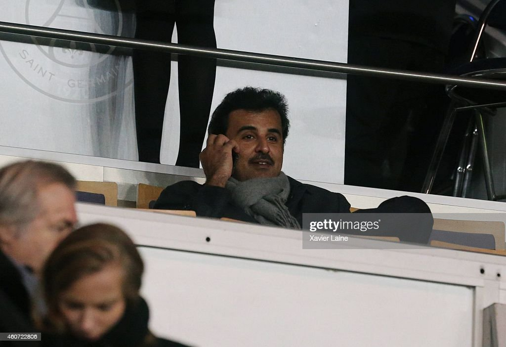 Sheikh Tamim bin Hamad Al-Thani during the French Ligue 1 between Paris Saint-Germain FC and Montpellier Herault SC at Parc Des Princes on December 20, 2014 in Paris, France.