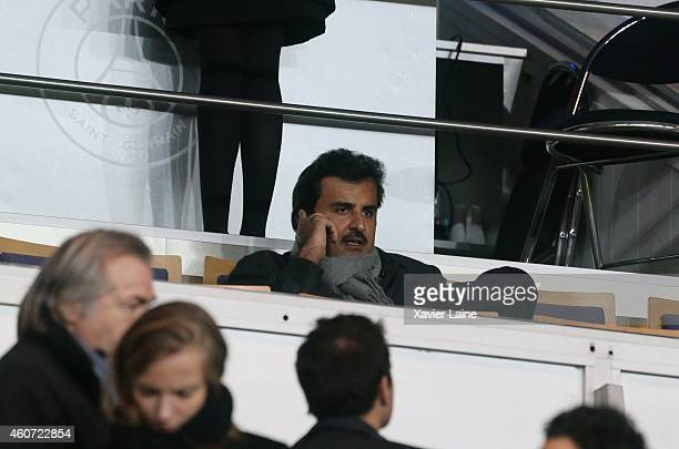 Sheikh Tamim bin Hamad AlThani during the French Ligue 1 between Paris SaintGermain FC and Montpellier Herault SC at Parc Des Princes on December 20...