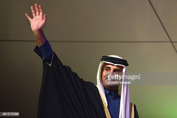 Sheikh Tamim bin Hamad bin Khalifa Al Thani of Qatar welcomes the uadience during the opening ceremony ahead of the IHF Men's Handball World...