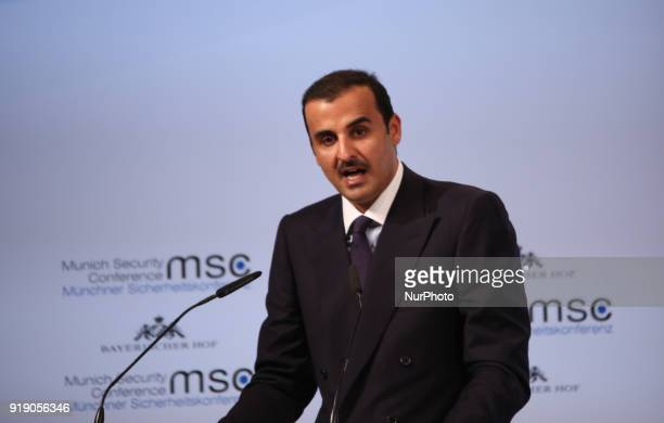 Sheikh Tamin Bin Hamad AlThani held a speech at the Munich Security Conference at the Bayerischer Hof hotel in Munich southern Germany on February 16...