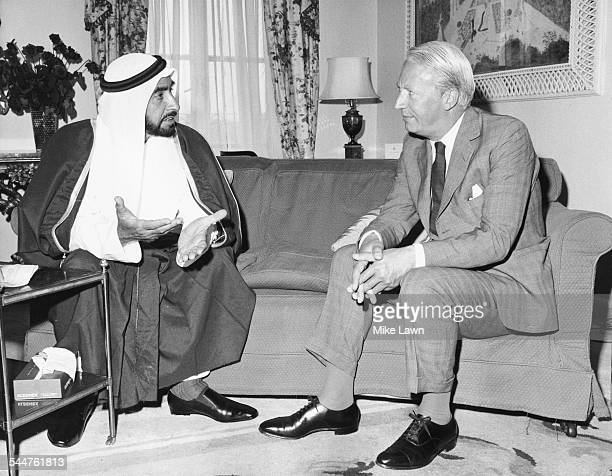 Sheikh Zayed Bin Sultan Al Nahyan and Prime Minister Edward Heath talking together at the Dorchester Hotel London June 16th 1969