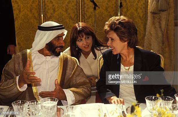 Sheikh Zayed bin Sultan al Nahyan meets Edith Cresson In Paris France On September 10 1991 Sheikh Zayed bin Sultan alNahyan with Edith Cresson