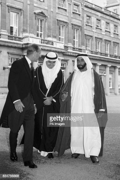 Sheikh Zayed bin Sultan AlNahayan chats with Prince Philip with the aid of an interpreter at Buckingham Palace The President is on an official...