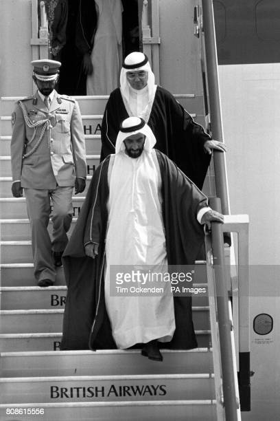 Sheikh Zayed bin Sultan AlNahayan front President of the United Afrab Emirates arrives at Heathrow Airport for the start of a four day official visit...