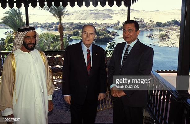 Sheikh Zayed bin Sultan alNahyan President of France Francois Mitterrand and Egyptian President Hosni Mubarak during the UNESCO Conference on the...