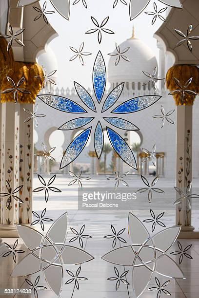 Sheikh Zayed Grand Mosque. Glass window of main hall