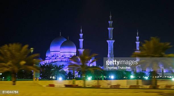 Abu Dhabi United Arab Emirates March 06 Sheikh Zayed Mosque at night on March 06 2016 in Abu Dhabi United Arab Emirates