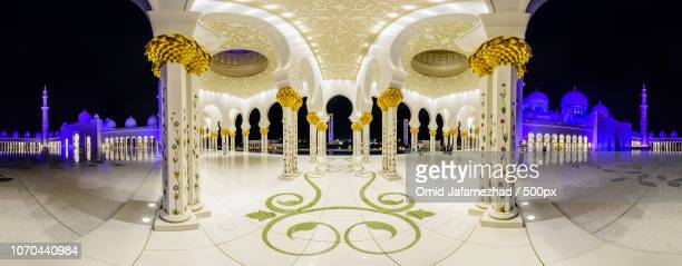 sheikh zayed mosque white night panorama - omid jafarnezhad stock pictures, royalty-free photos & images
