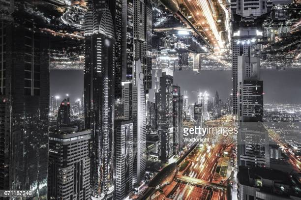sheikh zayed road in dubai - upside down stock pictures, royalty-free photos & images