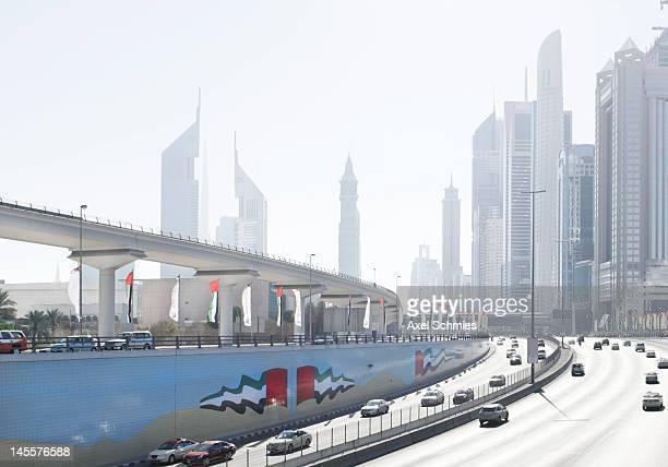 Sheikh Zayed road on national day