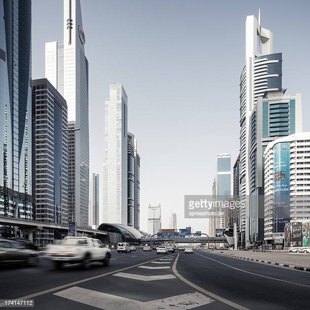 Sheikh Zayed Road with Skyscraper and traffic
