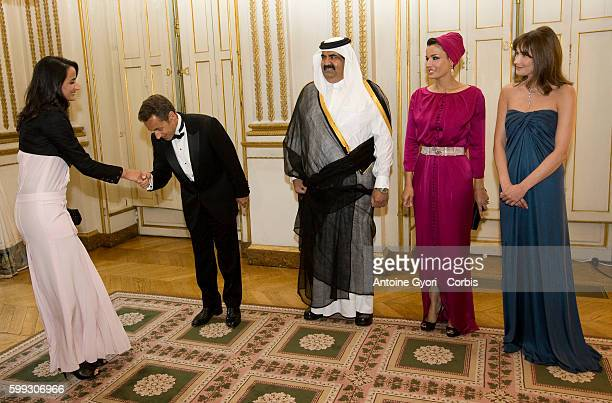 Sheikha Hind Bint Hamad Al Thani daughter and Chief of Staff of Sheikh Hamad Bin Khalifa AlThani is greeted at the Elysee Palace by French President...