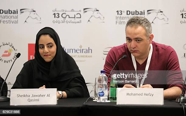 Sheikha Jawaher Al Qasimi and Mohamed Hefzy attend the Arab Film Institute press conference during day five of the 13th annual Dubai International...