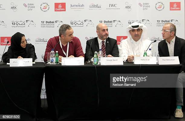 Sheikha Jawaher Al Qasimi Mohamed Hefzy George David Hafiz Al Ali and Paul Baboudjian attend the Arab Film Institute press conference during day five...