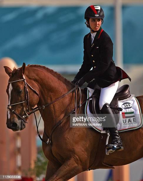 Sheikha Latifa al-Maktoum from the United Arab Emirates rides her horse Kalaska De Semilly during the equestrian jumping individual qualifier, 10...