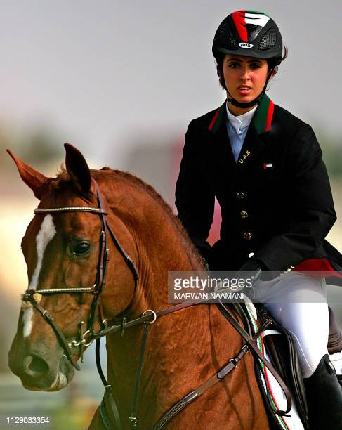 Sheikha Latifa al-Maktoum from the United Arab Emirates rides horse Kalaska De Semilly during the equestrian jumping individual qualifier, 10...