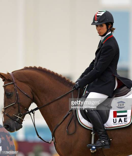 Sheikha Latifa al-Maktoum of the United Arab Emirates rides her horse Kalaska de Similly 11 December 2006 before starting the competition in the...