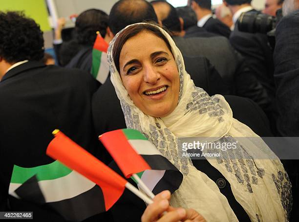 Sheikha Lubna Al Qasimi Minister for Foreign Trade United Arab Emirates reacts after the election results at the presentation of the candidacies for...