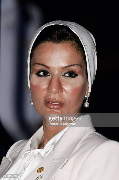 Sheikha Moza Bin Nasir AlMusnad of Qatar arrives at the Royal Navy Club to attend the Royal Barge Procession on June 12 2006 in Bangkok The king of...