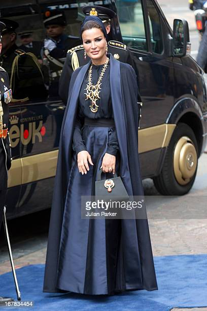 Sheikha Moza bint Nasser alMisned of Qatar arrives at the Nieuwe Kerk in Amsterdam for the inauguration ceremony of King Willem Alexander of the...