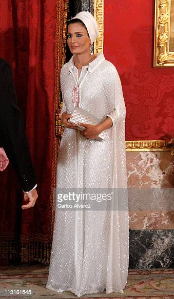 Sheikha Moza Bint Nasser AlMissned attends a Gala Dinner honouring of the Emir of the State of Qatar Sheikh Hamad Bin Khalifa AlThani at the Royal...