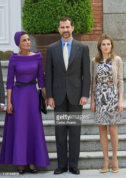 Sheikha Moza Bint Nasser AlMissned Prince Felipe of Spain and Princess Letizia of Spain pose for the photographers at El Pardo Palace on April 25...