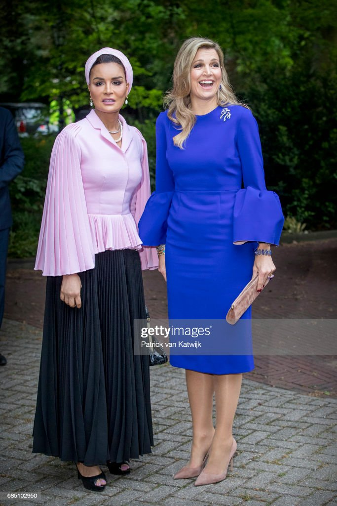 Sheikha Moza bint Nasser of Qatar and Queen Maxima of The Netherlands attend the Seminar On Protection & Education In Conflict Zones at the The Hague Institute for Global Justice on May 18, 2017 in The Hague, Netherlands.