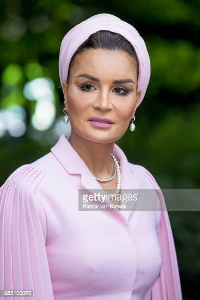 Sheikha Moza bint Nasser of Qatar attends the Seminar On Protection Education In Conflict Zones at the The Hague Institute for Global Justice on May...