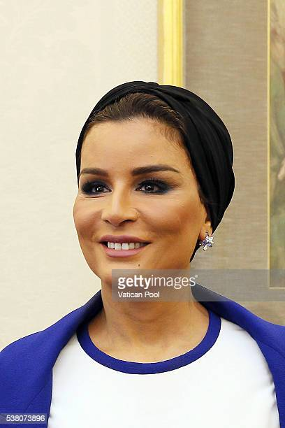 Sheikha Mozah bint Nasser Al Missned during a meeting with Pope Francis at his private library in the Apostolic Palace on June 4 2016 in Vatican City...