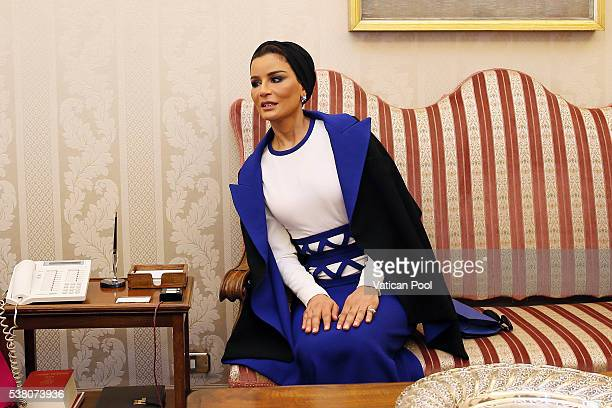 Sheikha Mozah bint Nasser Al Missned during a meeting with Pope Francis at his private library in the Apostolic Palace on June 4, 2016 in Vatican...