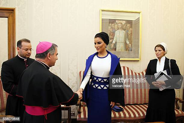 Sheikha Mozah bint Nasser Al Missned meets Vatican Substitute for General Affairs Archbishop Giovanni Angelo Becciu after a meeting with Pope Francis...