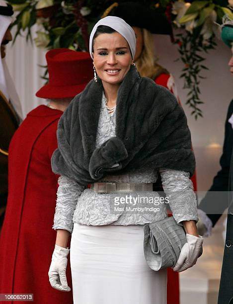 Sheikha Mozah bint Nasser AlMissned at the ceremonial welcome for The Emir of the State of Qatar Sheikh Hamad bin Khalifa AlThani and Her Highness...