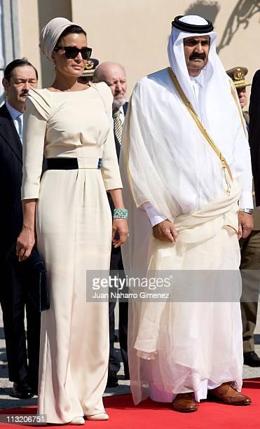 Sheikha Mozah Bint Nasser and Emir of the State of Qatar Sheikh Hamad Bin Khalifa Al-Thani bid farewell to King Juan Carlos and Queen Sofia of Spain...