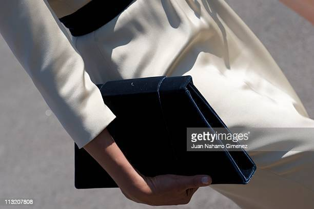 Sheikha Mozah Bint Nasser bids farewell to King Juan Carlos and Queen Sofia of Spain at El Pardo Palace on April 27 2011 in Madrid Spain The Emir of...