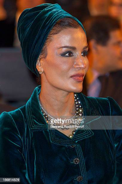 Sheikha Mozah the wife of the Emir of Qatar attends Placido Domingo's induction ceremony as Goodwill Ambassador of UNESCO at UNESCO on November 21...