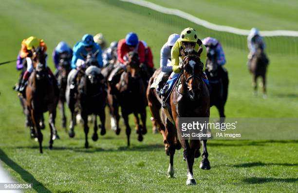 Sheikha Reika ridden by jockey Andrea Atzeni wins the Rossdales Maiden Fillies' Stakes during day three of The Bet365 Craven Meeting at Newmarket...