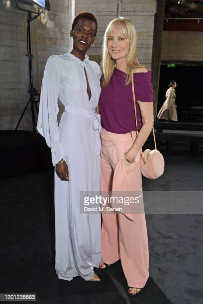 Sheila Atim and Joely Richardson attend the Roland Mouret show during London Fashion Week February 2020 at The National Theatre on February 16 2020...