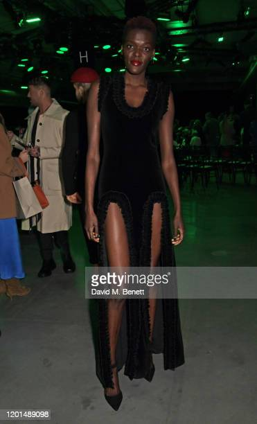 Sheila Atim attends the Christopher Kane show during London Fashion Week February 2020 at The Mail Centre on February 17 2020 in London England