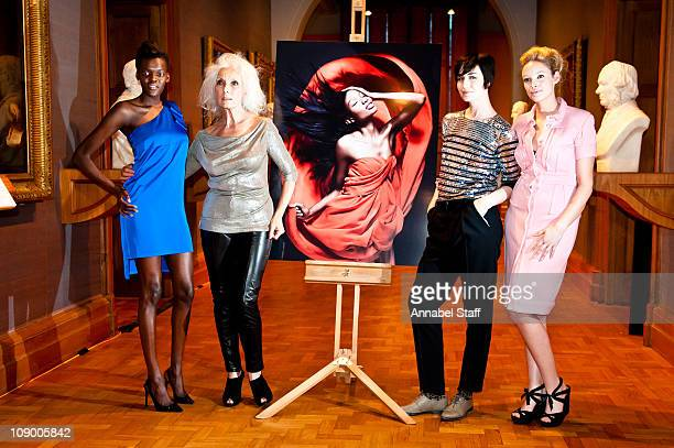 Sheila Atim Daphne Selfe Erin OConnor and Kirsty McLennan pose at a photocall for All Walks Beyond The Catwalk at National Portrait Gallery on...