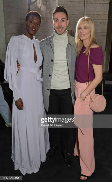 Sheila Atim Dr Peter McQuillan and Joely Richardson attend the Roland Mouret show during London Fashion Week February 2020 at The National Theatre on...