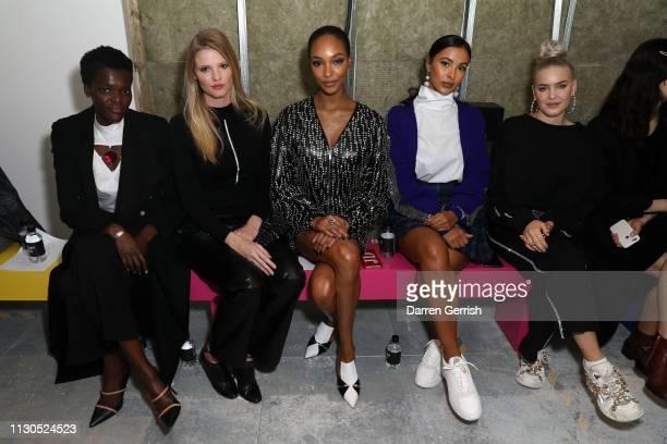 Sheila Atim, Lara Stone, Jourdan Dunn, Maya Jama and Anne-Marie attend the Christopher Kane show during London Fashion Week February 2019 on February...