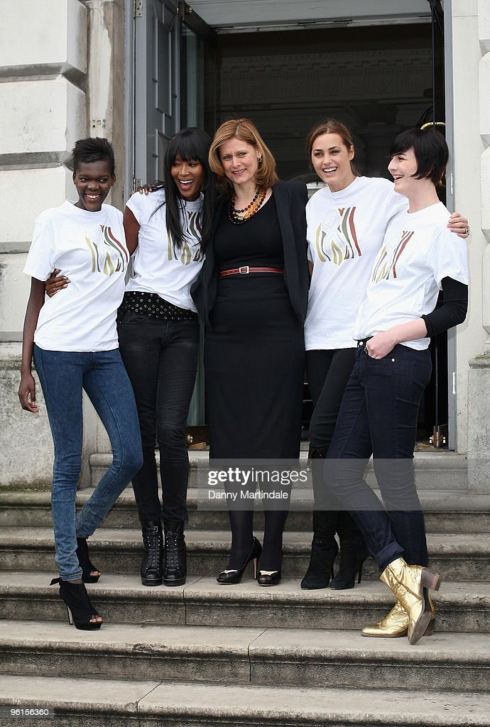 Sheila Atim, Naomi Campbell, Sarah Brown, Yasmin Le Bon and Erin O'Connor attends photocall to announce 'Fashion For Relief 2010' at Somerset House on January 25, 2010 in London, England.