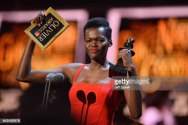 Sheila Atim receives the award for Best Actress In A Supporting Role In A Musical for 'Girl From The North Country' on stage during The Olivier...