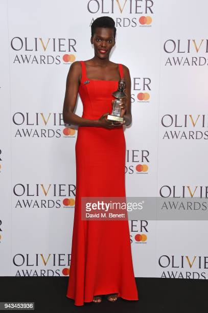 Sheila Atim winner of the Best Supporting Actress In A Musical award for Girl From The North Country poses in the press room during The Olivier...