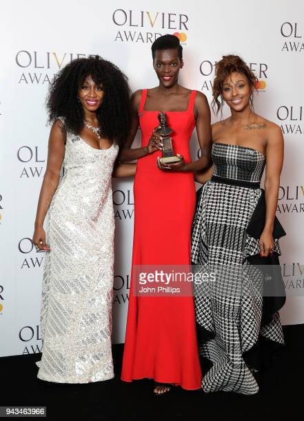 Sheila Atim winner of the Best Supporting Actress In A Musical award for 'Girl From The North Country' poses with Beverley Knight and Alexandra Burke...