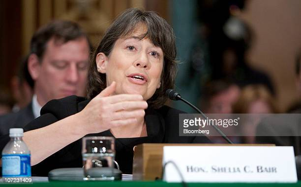 Sheila Bair chairman of the Federal Deposit Insurance Corp speaks during a Senate Banking Committee hearing on problems in mortgage servicing from...