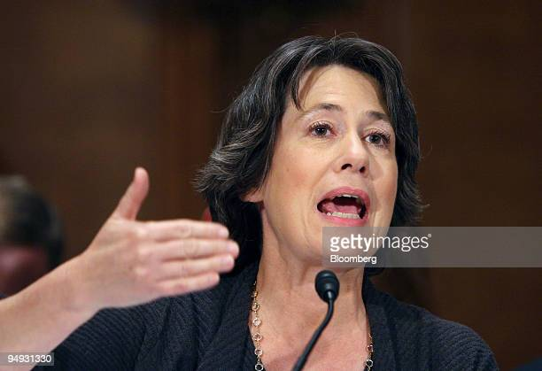 Sheila Bair chairman of the US Federal Deposit Insurance Corp testifies at a Senate Banking Committee hearing on credit markets in Washington DC US...
