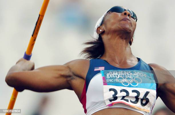 Sheila Burrell of the USA competes in the women's heptathlon javelin throw 21 August 2004 during the Olympic Games athletics competitions at the...