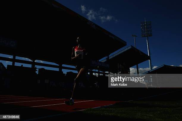 Sheila Chelangat of Kenya competes in the girls 3000m final during the athletics competition at the Apia Park Sports Complex on day three of the...