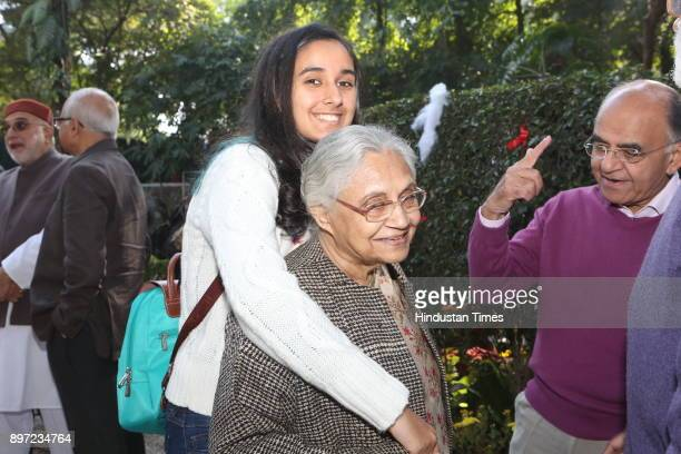 Sheila Dikshit and granddaughter Afiya attend during Christmas Brunch party hosted by Dilip and Devi Cherian on December 16 2017 in New Delhi India